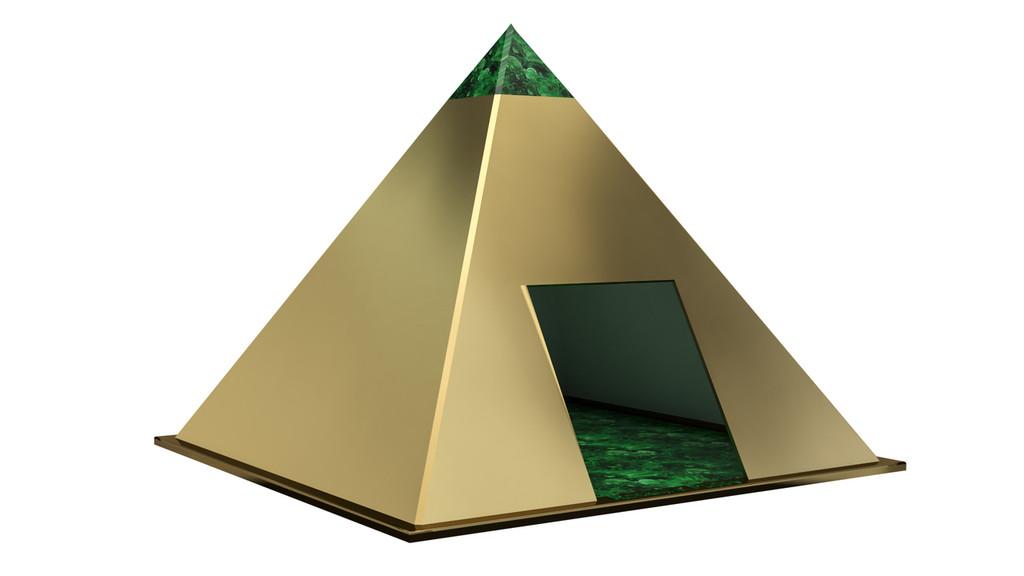 pyramid bronze and malachite dog house