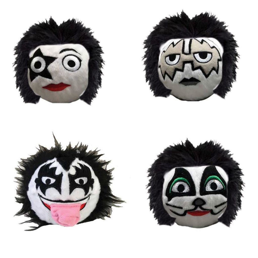 kiss rock n roll squeaker dog toys