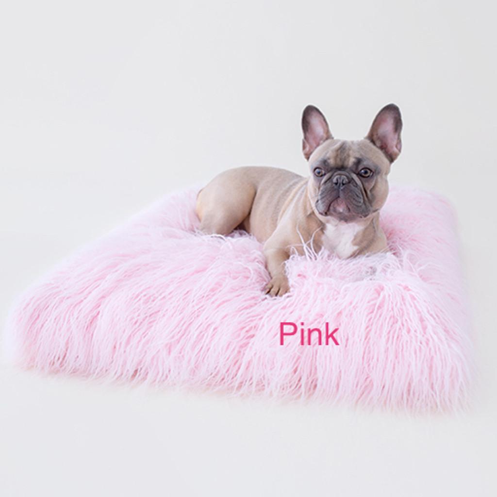 Mongolian Lamb Faux Fur Dog Bed Pink