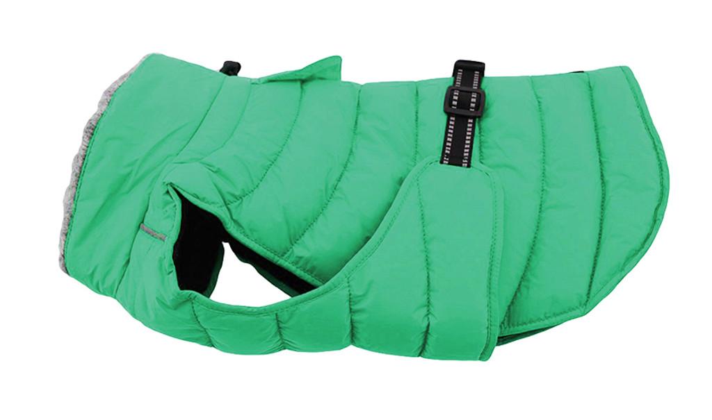 green puffer dog coat