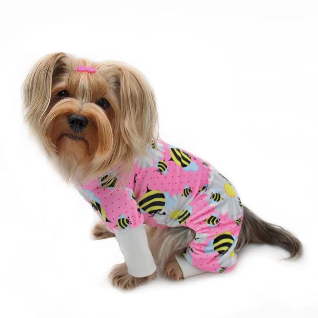 bees and flowers dog pajamas