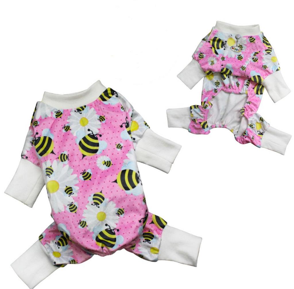 bumblebees and flowers dog pajamas