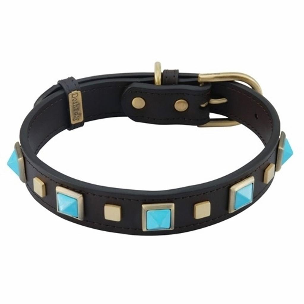 turquoise stones dog collar
