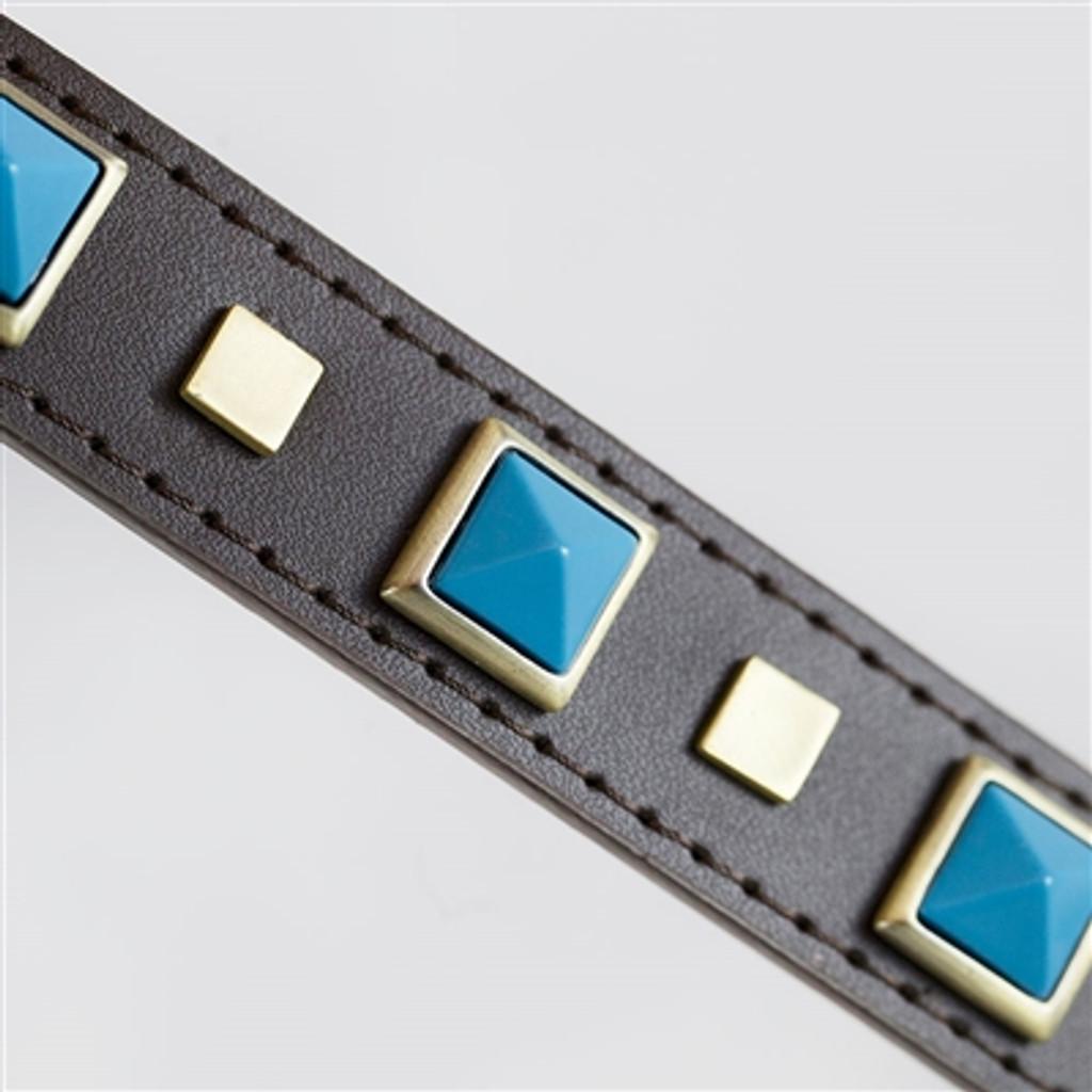 turquoise stones dog collar detail
