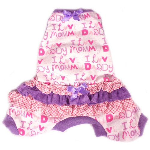 Ruffled Flannel I Love Mommy and Daddy Dog Pajamas