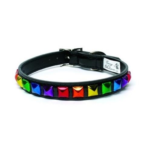 Rainbow Pyramid Stud Dog Collar