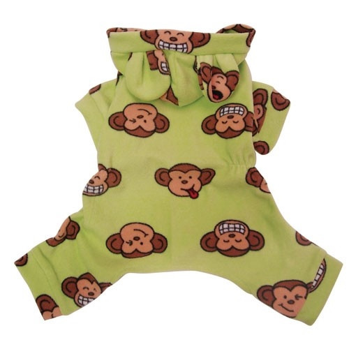 Green Silly Monkey Hooded Fleece Dog Pajamas with Ears