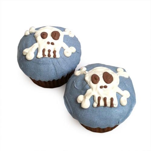 Blue Punk Skull Cupcakes (set of 6)