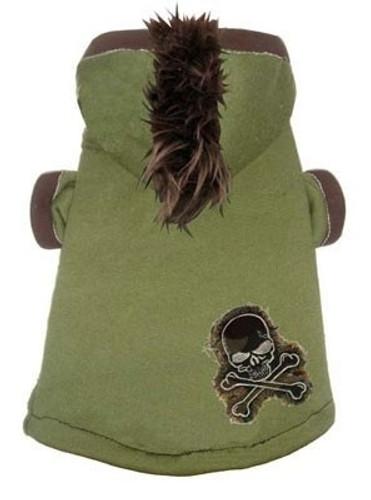 Dog Hoodie | Green Camo Skull Mohawk Dog Hoodie