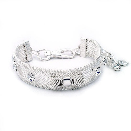 Silver Mesh Bow Dog Collar Necklace