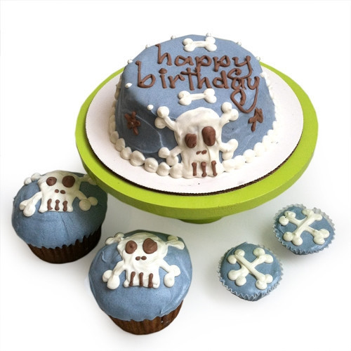 Blue Punk Rock Skull Dog Birthday Cake