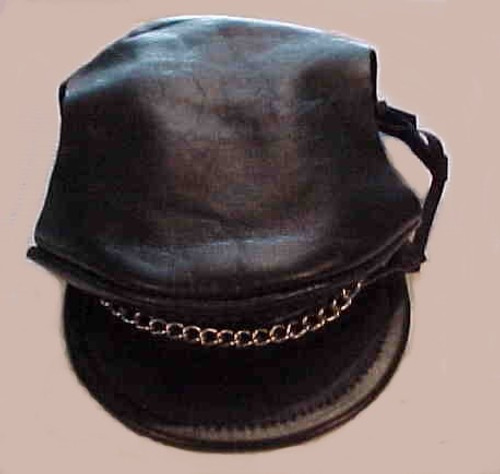 Black Leather Biker Dog Hat with Chain
