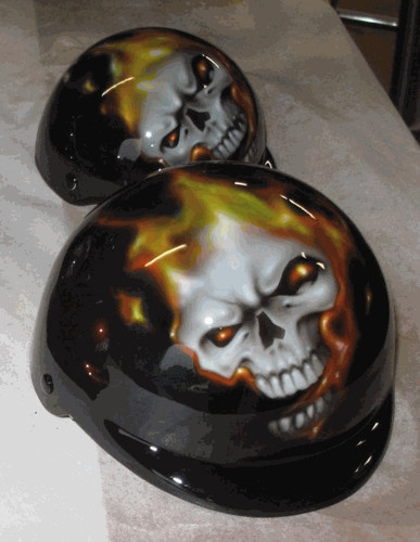 Airbrushed Flaming Skull Dog Helmet