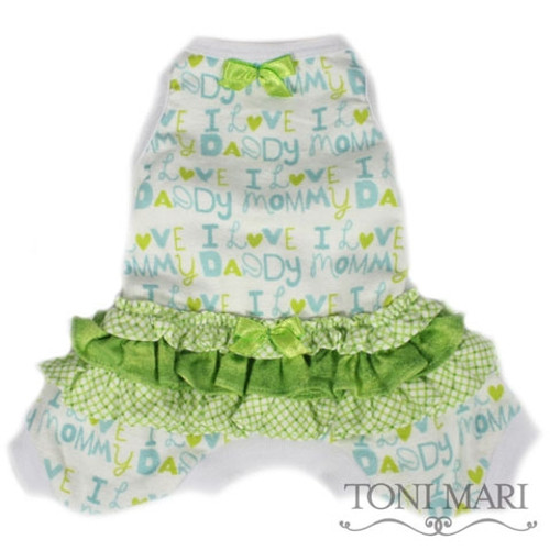 I Love Mommy & Daddy Dog Pajamas Lime
