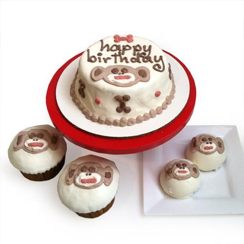 Sock Monkey Dog Birthday Cake