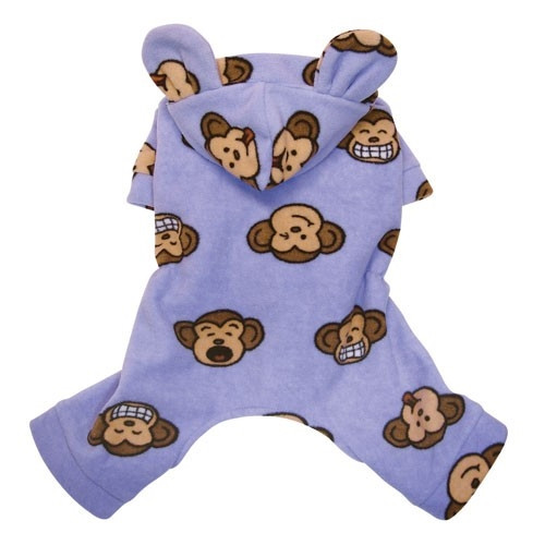 Lavender Silly Monkey Hooded Fleece Dog Pajamas with Ears