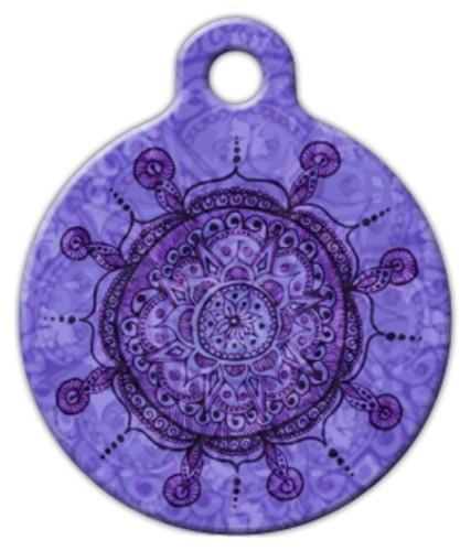 Purple Mandala Dog ID Tag
