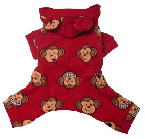 Red Silly Monkey Hooded Fleece Dog Pajamas with Ears