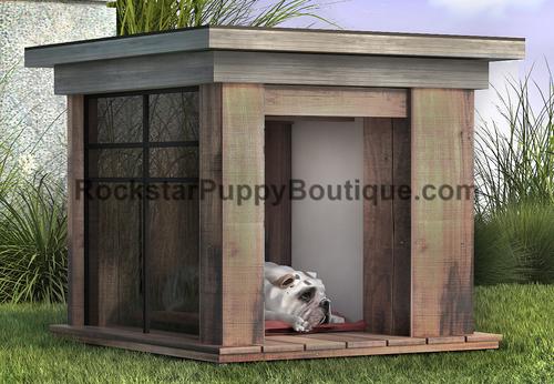 sandblasted hemlock dog house with tempered glass panel