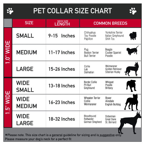 Dog Collar | Grateful Dead dog collar size chart