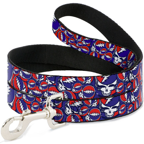 Grateful Dead steal your face dog leash red white blue