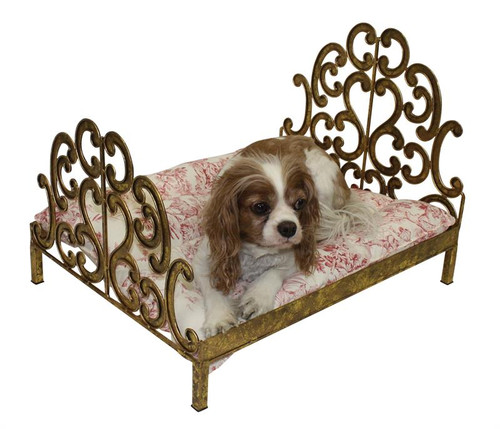 italian gold scroll dog bed