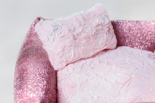 pink crystal dog bed detail