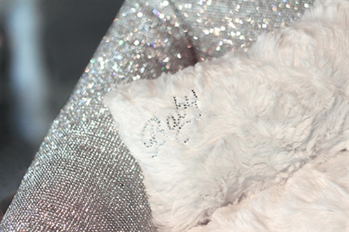 silver crystal dog bed detail