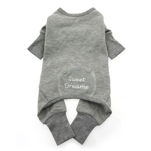 Thermal Dog Pajamas | sweet dreams grey thermal dog pajamas