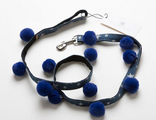 Star Print Denim Dog Leash - Blue Pom Pom