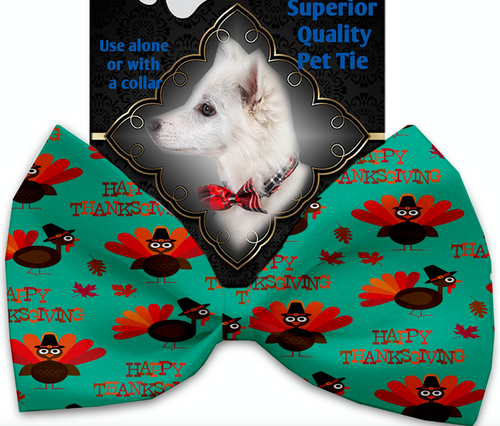 Happy Thanksgiving Pet Bow Tie