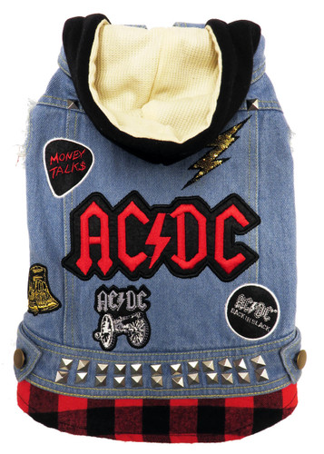 ACDC rock n roll dog denim jacket