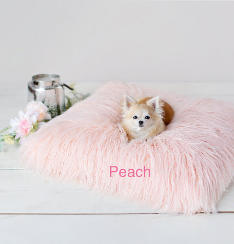 Mongolian Lamb Faux Fur Dog Bed Peach