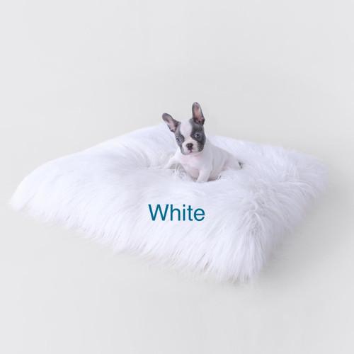 Mongolian Lamb Faux Fur Dog Bed White