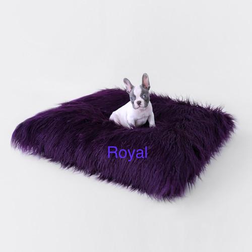 Mongolian Lamb Faux Fur Dog Bed Royal