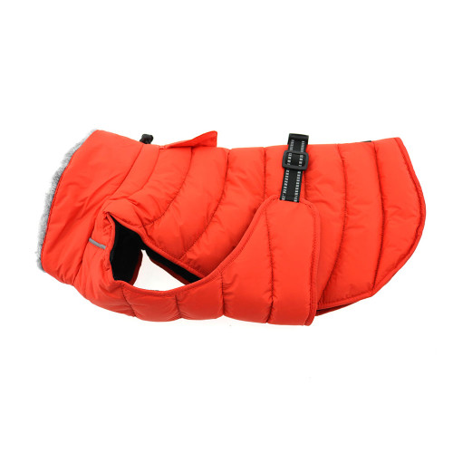 orange puffer dog coat