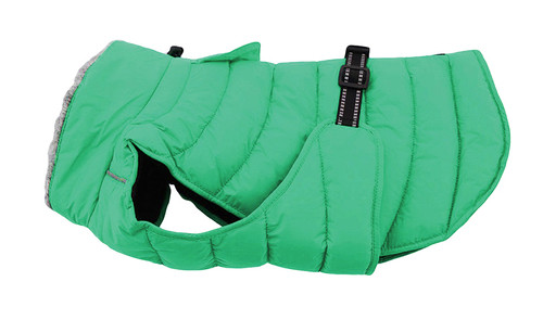 green puffer dog coat