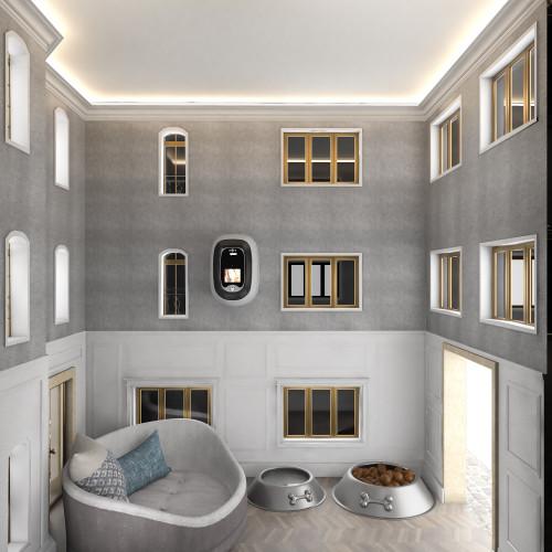 limestone dog house interior