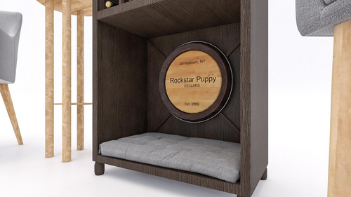 personalized wine barrel plaque dog bed
