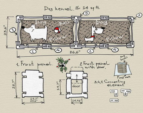 dog crate double kennel drawing