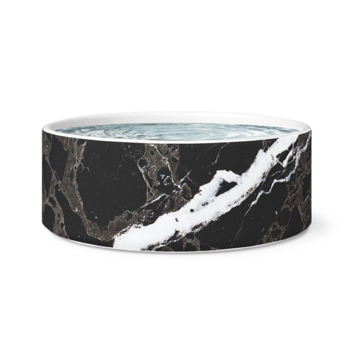 Black Marble Dog Bowl