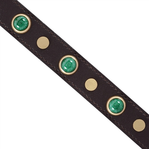 malachite stones dog collar detail