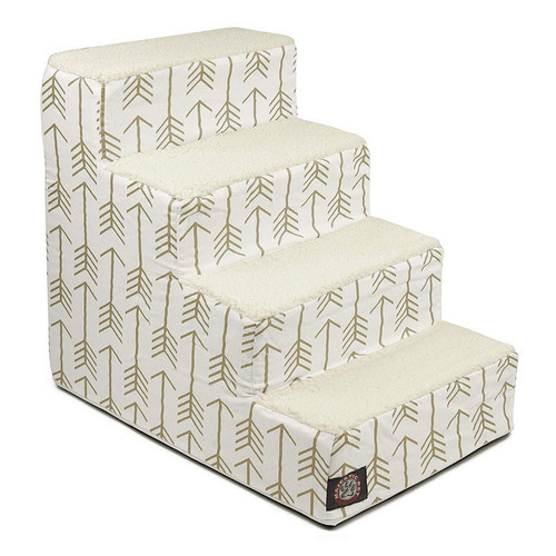 White / Gold  Arrow 4 Steps Pet Stairs