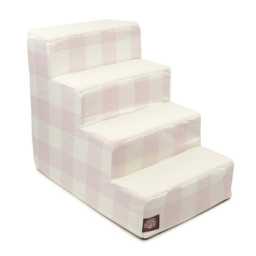 Blush Pink Anderson Check  Arrow 4 Steps Pet Stairs