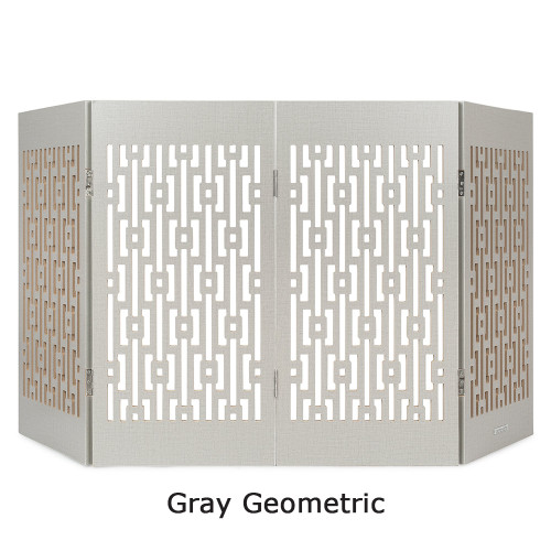 grey geometric freestanding pet gate