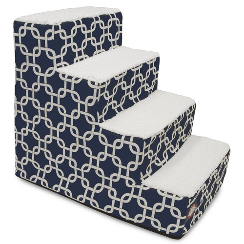 Navy Blue Links 4 Steps Pet Stairs