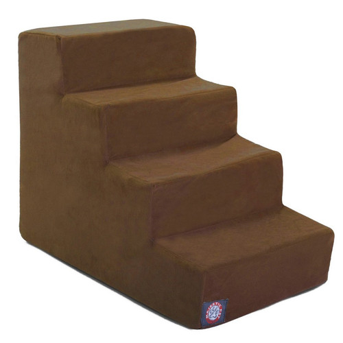 Chocolate Suede 4 Steps Pet Stairs