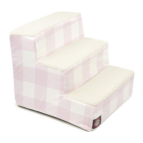 Blush Pink Anderson Check 3 Steps Pet Stairs