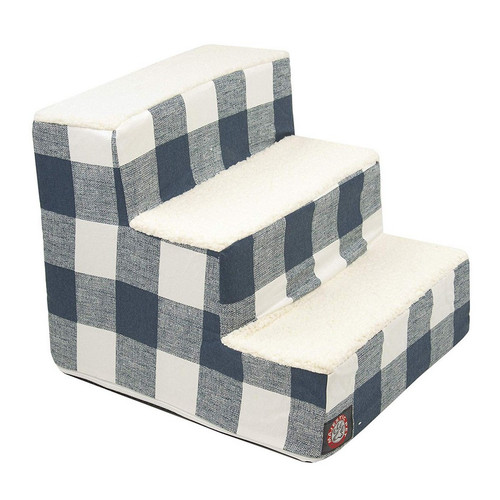Navy Blue Anderson Check 3 Steps Pet Stairs