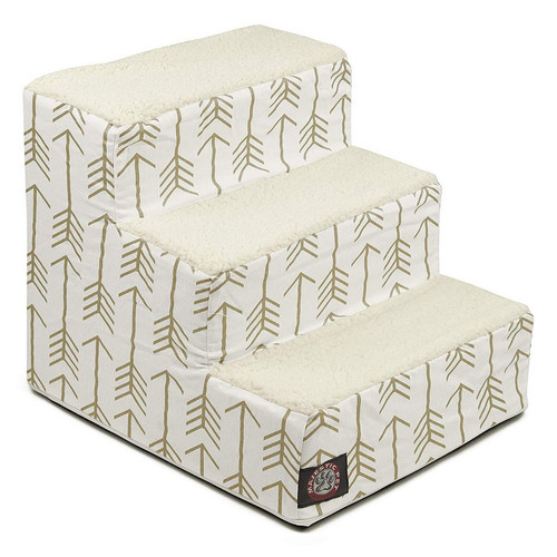White / Gold Arrow 3 Steps Pet Stairs